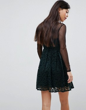 photo Lace & Dobby Mini Skater Dress by ASOS PETITE, color Black/Khaki - Image 2