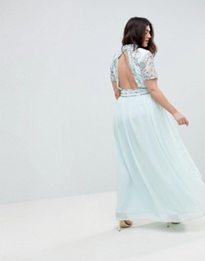 photo Embellished Top Maxi Dress by Frock and Frill Plus Premium, color Duck Egg - Image 2