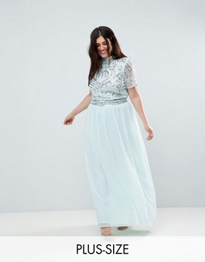 photo Embellished Top Maxi Dress by Frock and Frill Plus Premium, color Duck Egg - Image 1