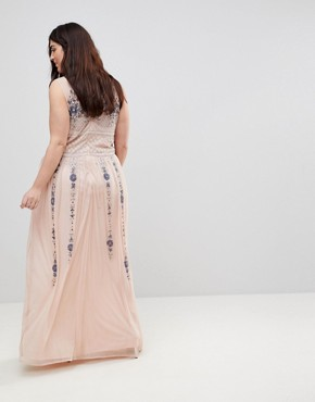 photo All Over Embellished Maxi Dress by Frock and Frill Plus Premium, color Pink Multi - Image 2