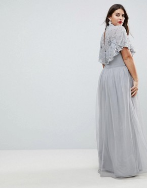 photo Embellished Top High Neck Maxi Dress by Frock and Frill Plus Premium, color Grey/Silver - Image 2