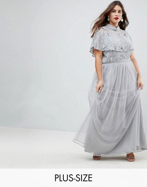 photo Embellished Top High Neck Maxi Dress by Frock and Frill Plus Premium, color Grey/Silver - Image 1
