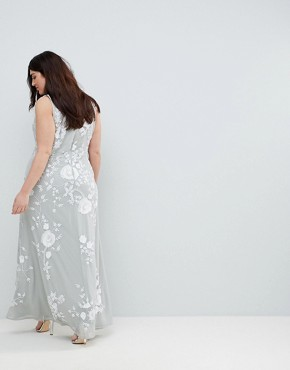 photo All Over Embellished High Neck Trophy Maxi Dress by Frock and Frill Plus Premium, color Grey/White - Image 2