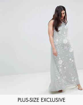 photo All Over Embellished High Neck Trophy Maxi Dress by Frock and Frill Plus Premium, color Grey/White - Image 1
