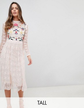 photo Embroidered Lace Prom Skater Dress by Frock and Frill Tall Premium, color Nude Multi - Image 1