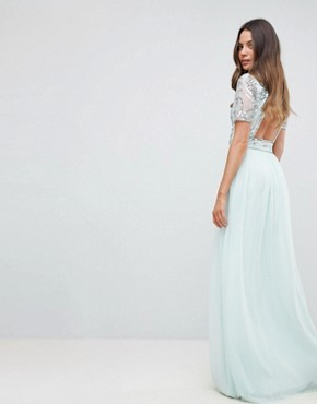 photo Embellished Top Maxi Dress by Frock and Frill Tall Premium, color Duck Egg - Image 2
