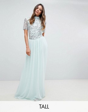 photo Embellished Top Maxi Dress by Frock and Frill Tall Premium, color Duck Egg - Image 1
