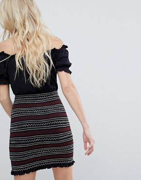photo Off Shoulder Sundress with Shirred Embroidered Skirt Panel by ASOS, color Black - Image 2