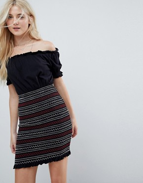 photo Off Shoulder Sundress with Shirred Embroidered Skirt Panel by ASOS, color Black - Image 1