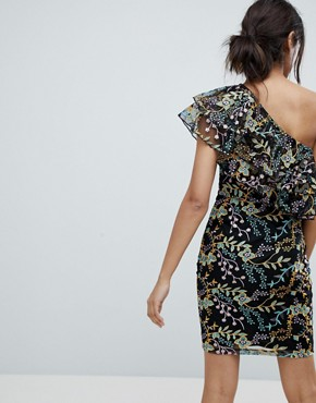 photo Allover Jacquard One Shoulder Ruffle Mini Dress by Dolly & Delicious Tall, color Multi - Image 2