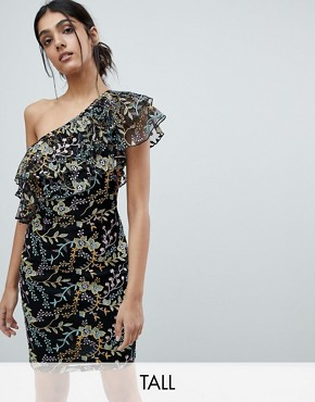 photo Allover Jacquard One Shoulder Ruffle Mini Dress by Dolly & Delicious Tall, color Multi - Image 1