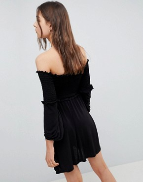photo Off Shoulder Sundress with Shirring and Balloon Sleeves by ASOS, color Black - Image 2