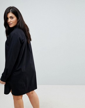 photo Cotton Mini Shirt Dress by ASOS DESIGN Curve, color Black - Image 2