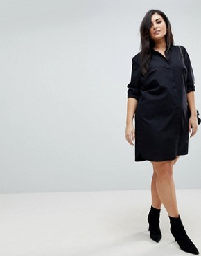photo Cotton Mini Shirt Dress by ASOS DESIGN Curve, color Black - Image 4