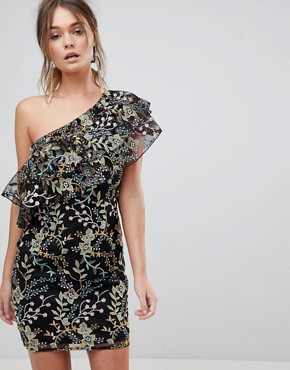 photo Floral Embroidered One Shoulder Ruffle Mini Dress by Dolly & Delicious, color Multi - Image 1