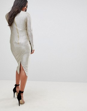 photo High Neck Metallic Midi Dress by Flounce London Maternity, color Silver - Image 2