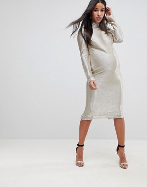 photo High Neck Metallic Midi Dress by Flounce London Maternity, color Silver - Image 1