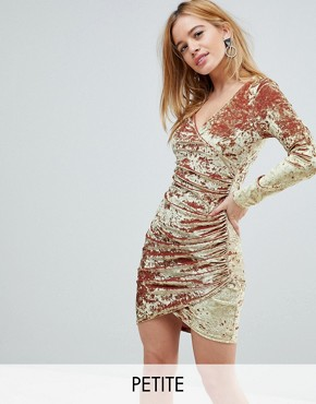 photo Wrap Ruched Mini Dress in Electric Velvet by Flounce London Petite, color Gold - Image 1
