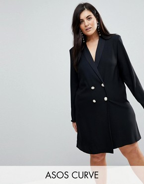 photo Tux Dress with Pearl Buttons by ASOS CURVE ULTIMATE, color Black - Image 1