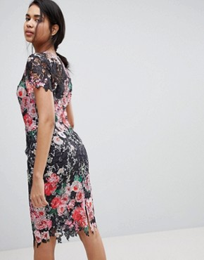 photo All Over Floral Printed Lace Pencil Dress by Paper Dolls, color Multi - Image 2