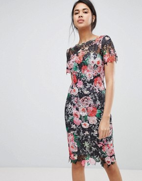 photo All Over Floral Printed Lace Pencil Dress by Paper Dolls, color Multi - Image 1