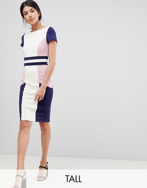 photo Colour Block Pencil Dress by Paper Dolls Tall, color Multi - Image 4