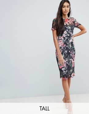 photo All Over Floral Printed Lace Pencil Dress by Paper Dolls Tall, color Multi - Image 1
