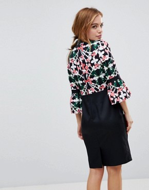 photo Floral Printed Top Dress with Contrast Skirt by Paper Dolls Petite, color Multi - Image 2