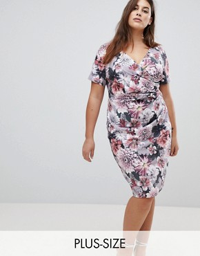 photo Floral Printed Wrap Dress by Paper Dolls Plus, color Multi - Image 1