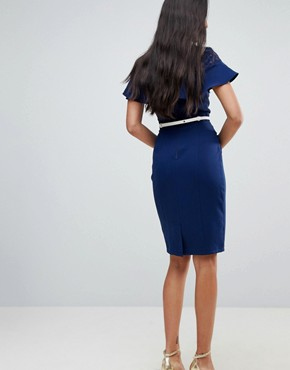 photo Lace Insert Pencil Dress with Frill Detail and Belt by Paper Dolls Tall, color Navy - Image 2