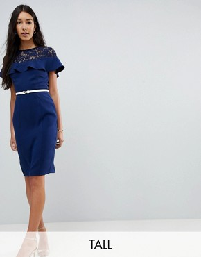 photo Lace Insert Pencil Dress with Frill Detail and Belt by Paper Dolls Tall, color Navy - Image 1