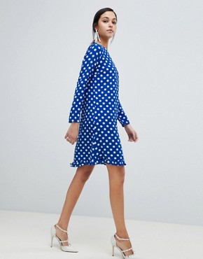 photo Dotti Polka Dot Dress by Y.A.S, color Navy Polka Dot - Image 4