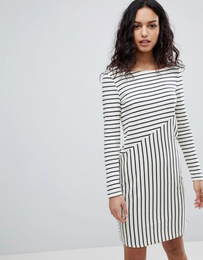 photo Stripe Sweater Dress by Y.A.S, color White/Black Stripe - Image 1
