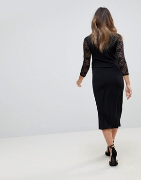 photo Lace Sleeve Bodycon Dress by Bluebelle Maternity, color Black - Image 2