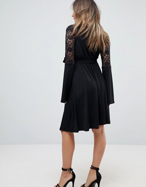 photo Lace Sleeve Midi Skater Dress by Bluebelle Maternity, color Black - Image 2