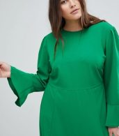 photo Fluted Sleeve Midi Dress with Split by ASOS CURVE, color Green - Image 3