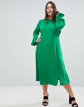 photo Fluted Sleeve Midi Dress with Split by ASOS CURVE, color Green - Image 4