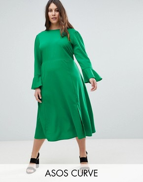 photo Fluted Sleeve Midi Dress with Split by ASOS CURVE, color Green - Image 1
