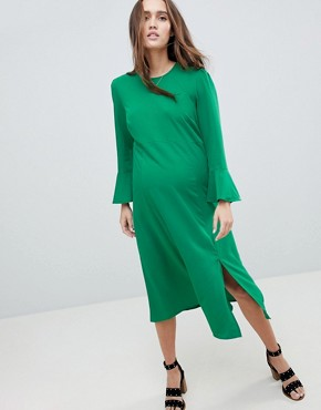 photo Fluted Sleeve Midi Dress with Split by ASOS Maternity, color Green - Image 1