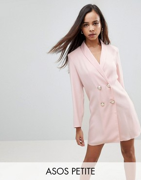 photo Mini Tux Dress with Pearl Buttons by ASOS PETITE, color Nude - Image 1