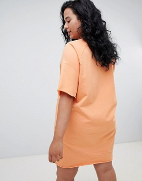 photo Oversized T-Shirt Dress with Embroidery by ASOS CURVE, color Orange - Image 2
