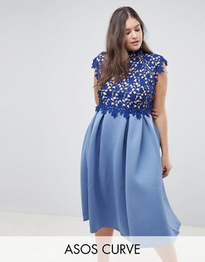 photo Heavy Lace High Neck Prom Dress by ASOS DESIGN Curve, color Navy - Image 1