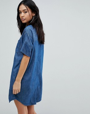 photo Denim Shirt Dress by Blank NYC, color Blue - Image 2