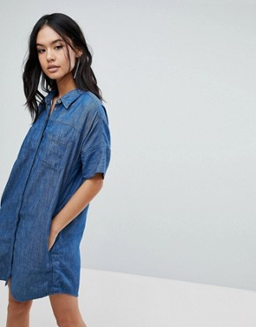 photo Denim Shirt Dress by Blank NYC, color Blue - Image 1