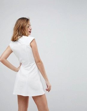 photo High Neck Seamed Shift Dress by ASOS PETITE, color White - Image 2