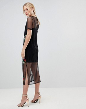 photo Mesh Midi T-Shirt Dress with Embroidery by ASOS TALL, color Black - Image 2