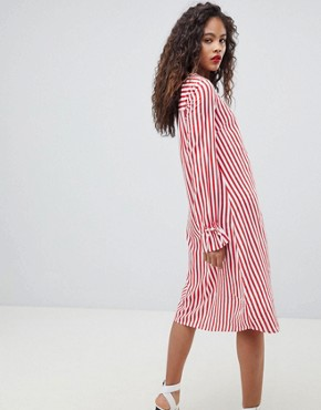 photo Trey Striped Dress by Y.A.S Tall, color Red/White Stripe - Image 2