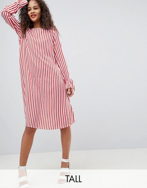 photo Trey Striped Dress by Y.A.S Tall, color Red/White Stripe - Image 1