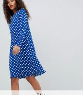 photo Dotti Polka Dot Dress by Y.A.S Tall, color Navy Polka Dot - Image 1