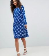 photo Dotti Polka Dot Dress by Y.A.S Tall, color Navy Polka Dot - Image 4
